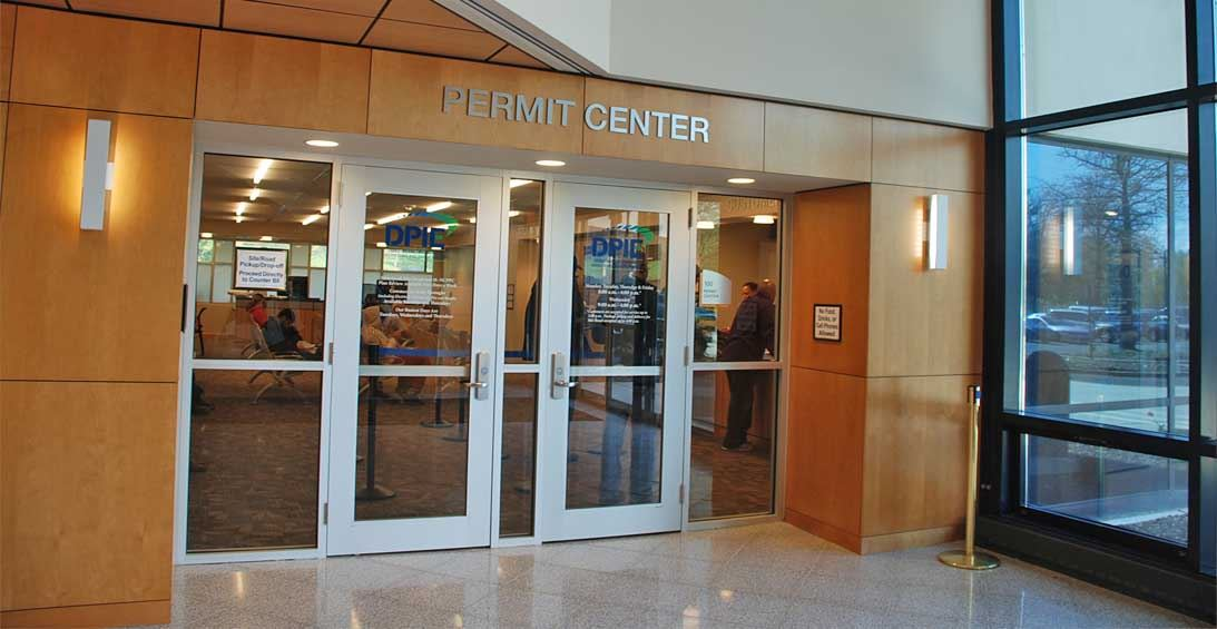 Doors to the Permit Center