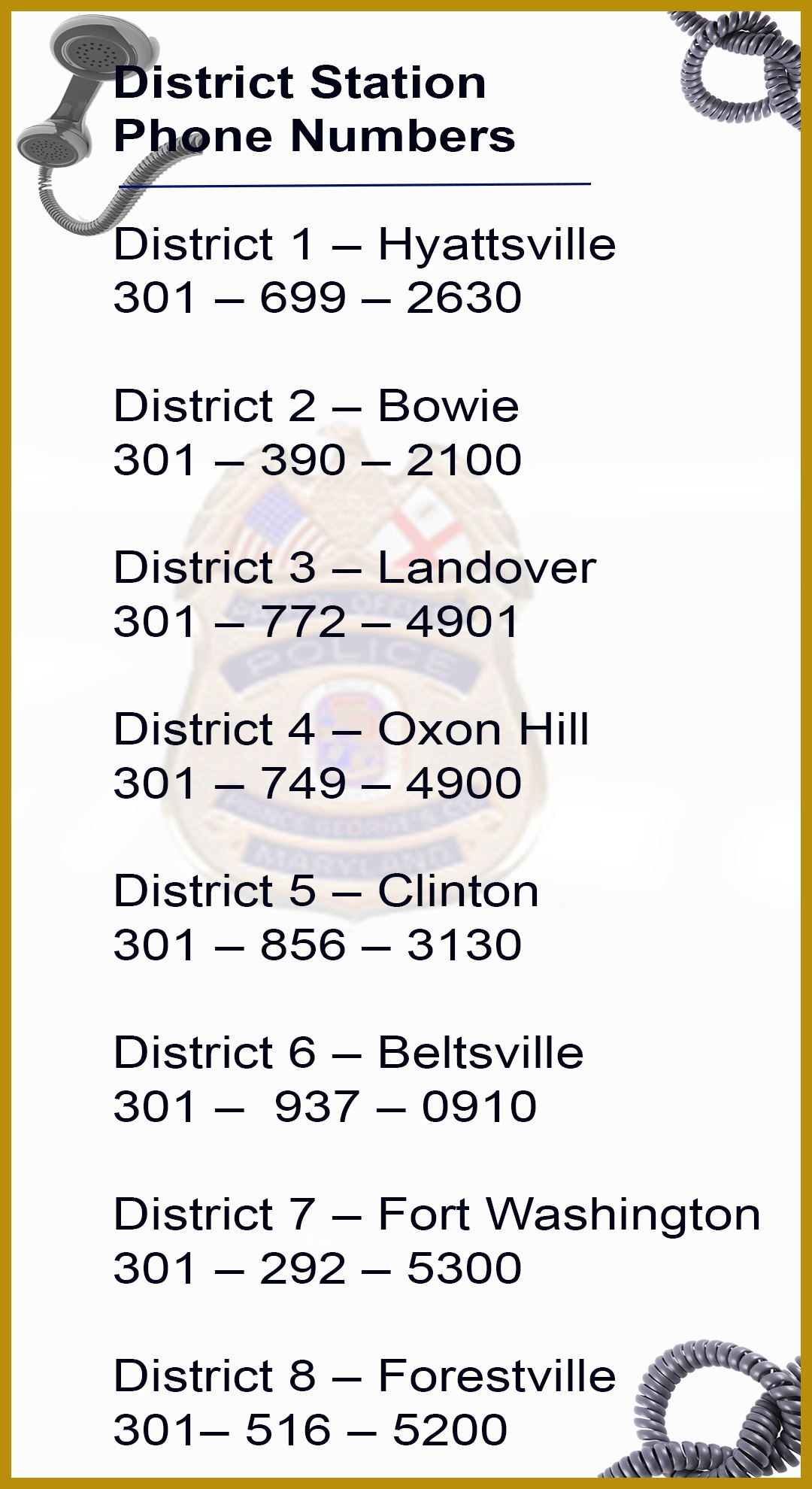 The District Stations and Phone Numbers