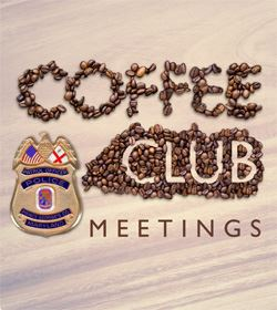 Coffee beans and police badge