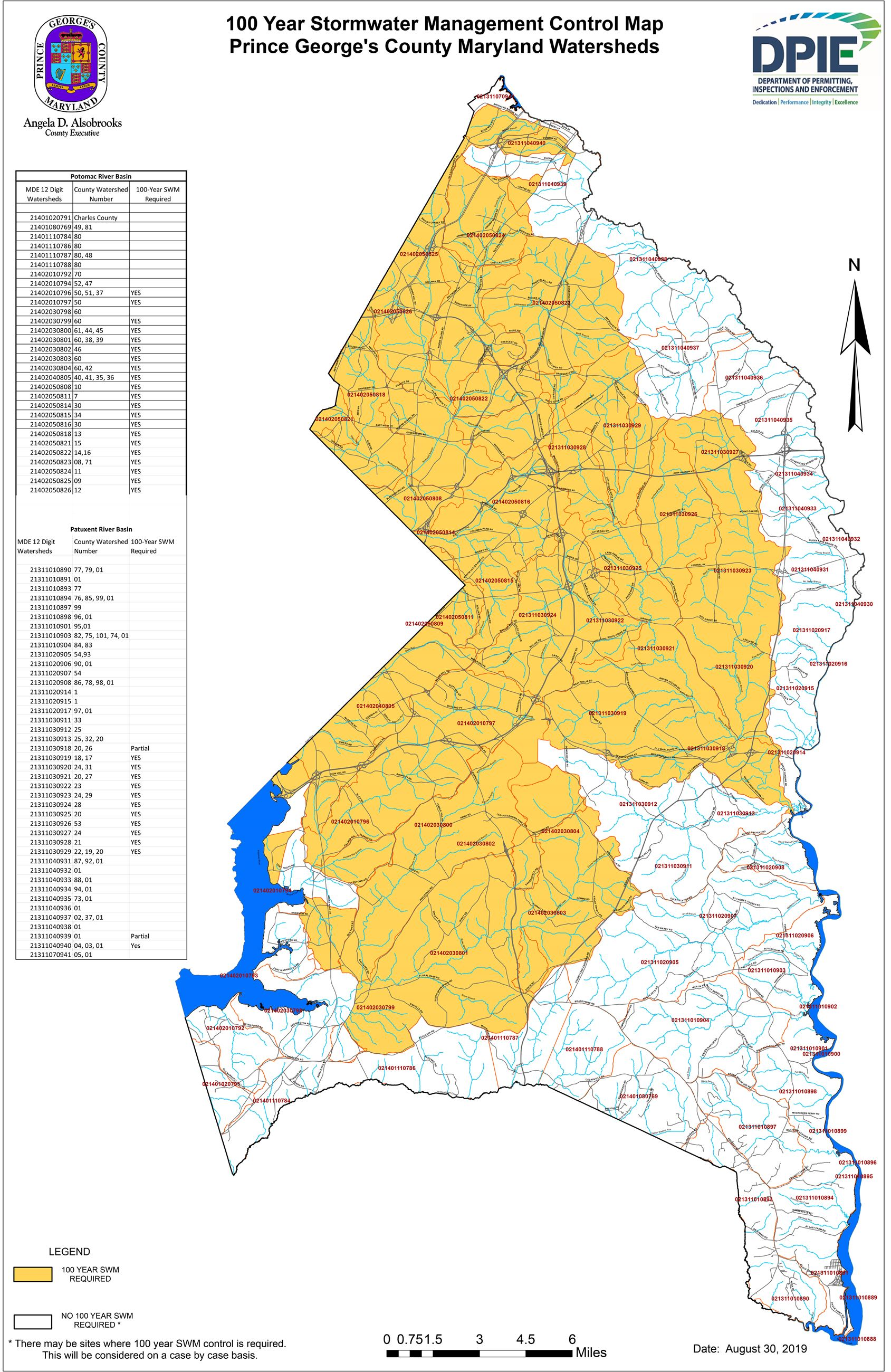 100 Year Stormwater Management Control Map, Prince Georges County Maryland Watersheds Image, Map of
