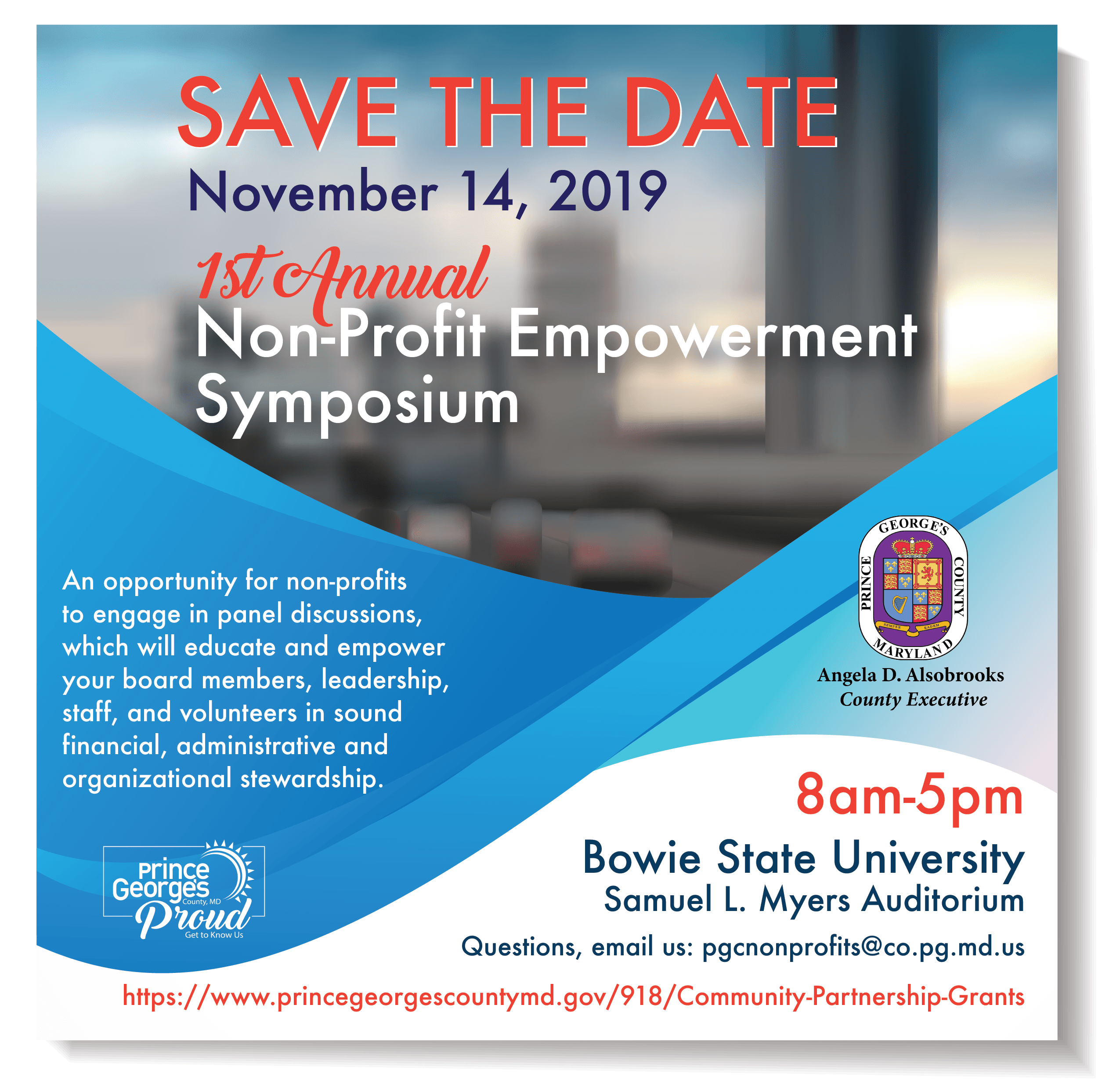 Save the Date, Non-Profit Empowerment Symposium Flyer. Click for calendar details