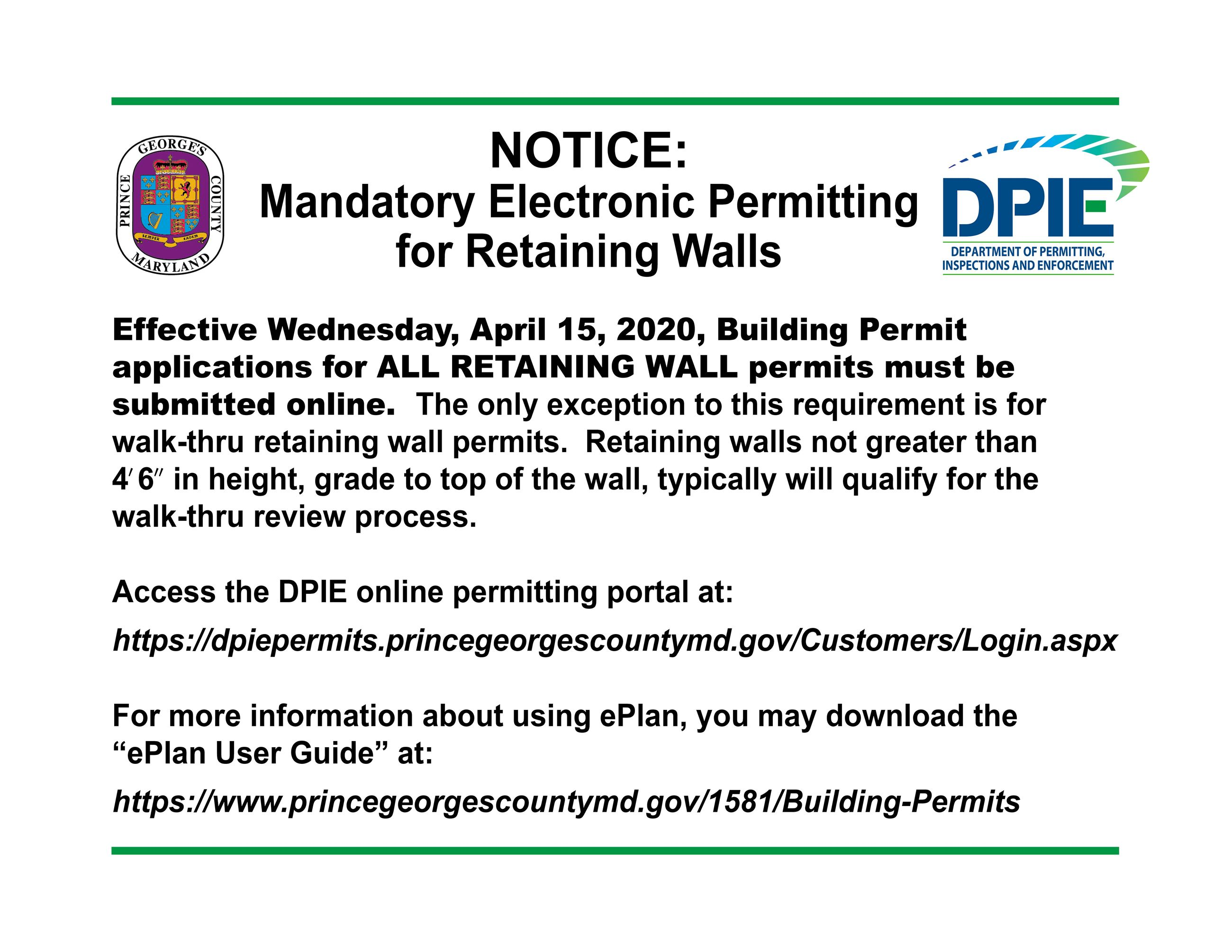 Mandatory Retaining Wall Notice for online permit applications
