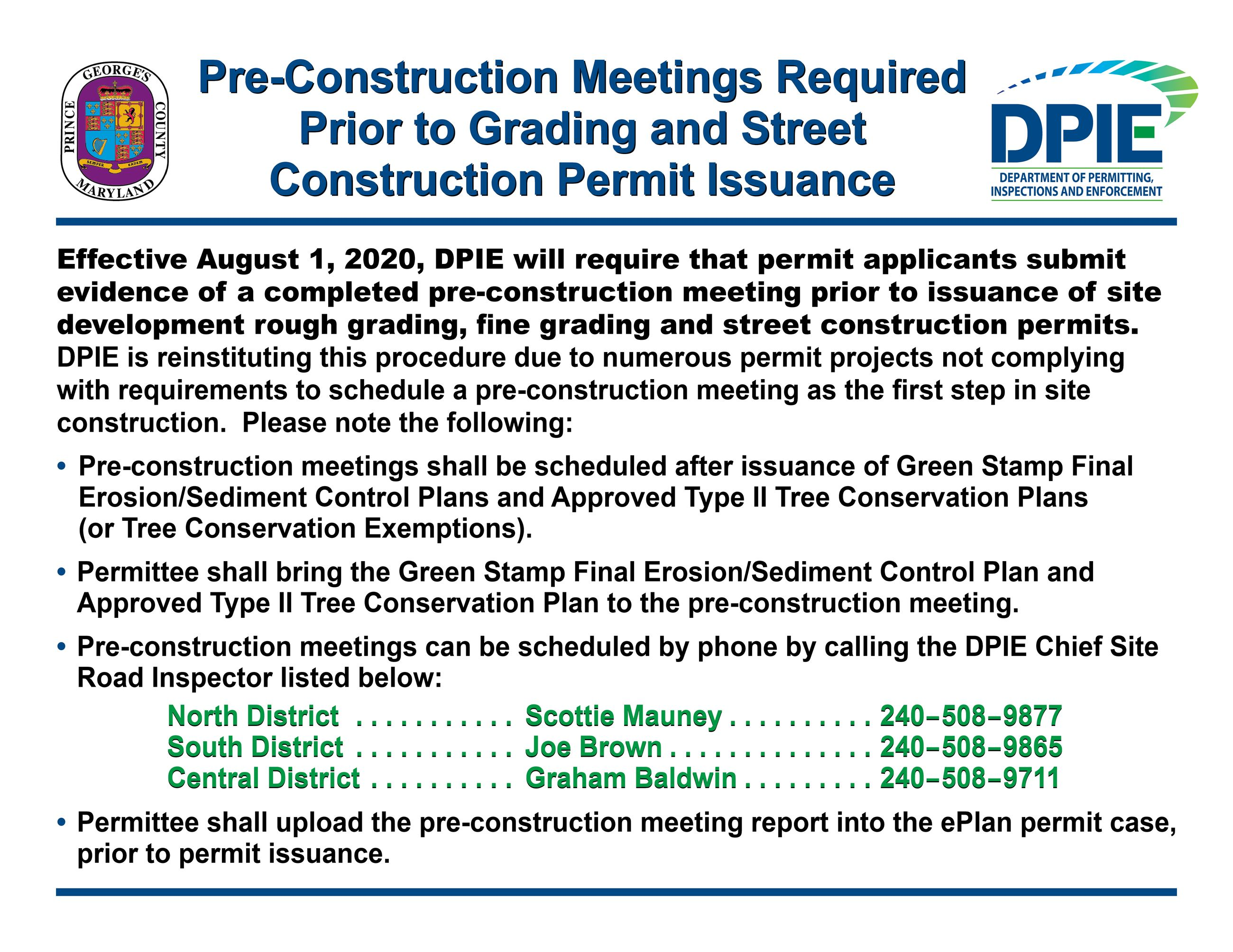 Pre-Construction Meetings Required Prior to Permits
