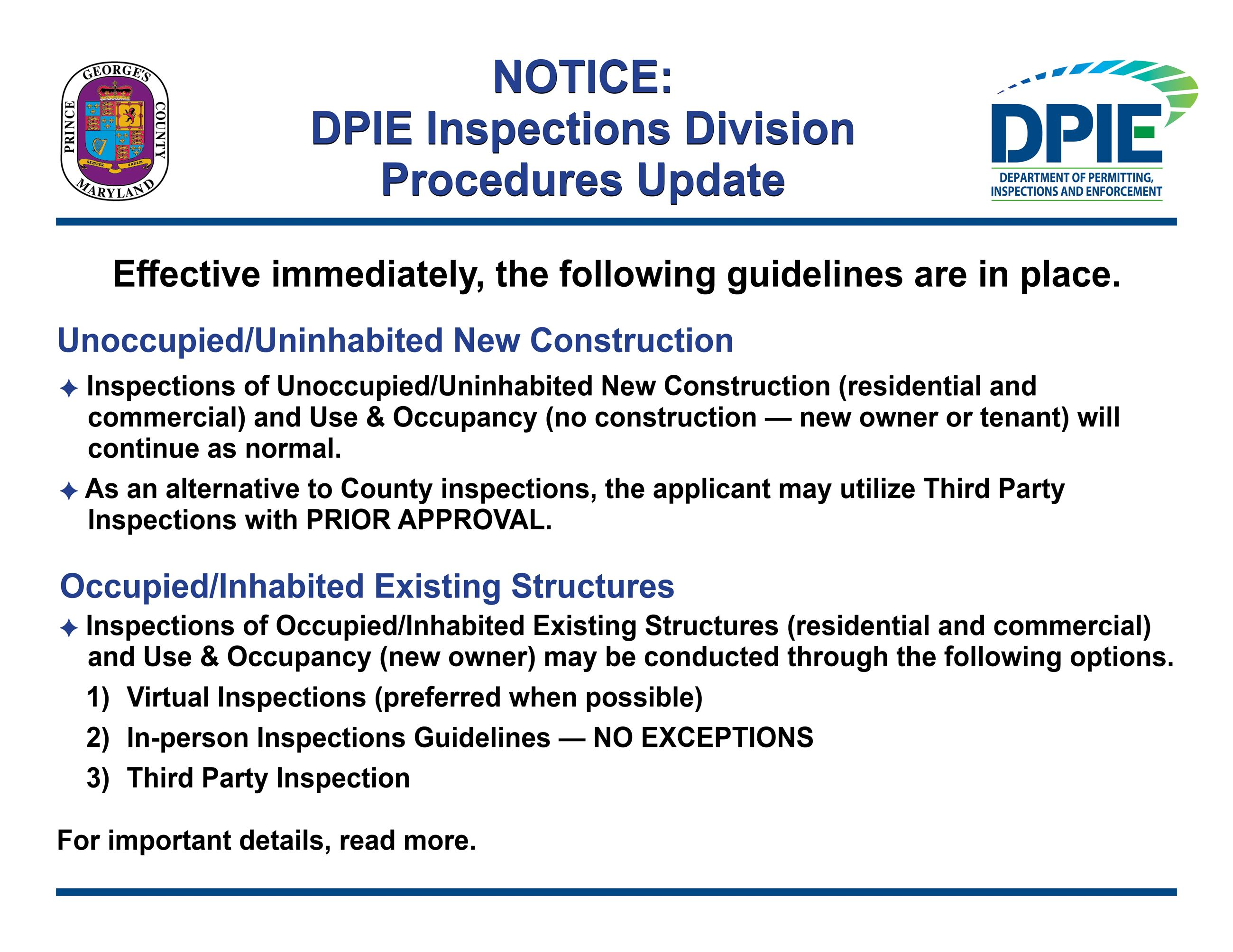 Inspections Division Procedures Update