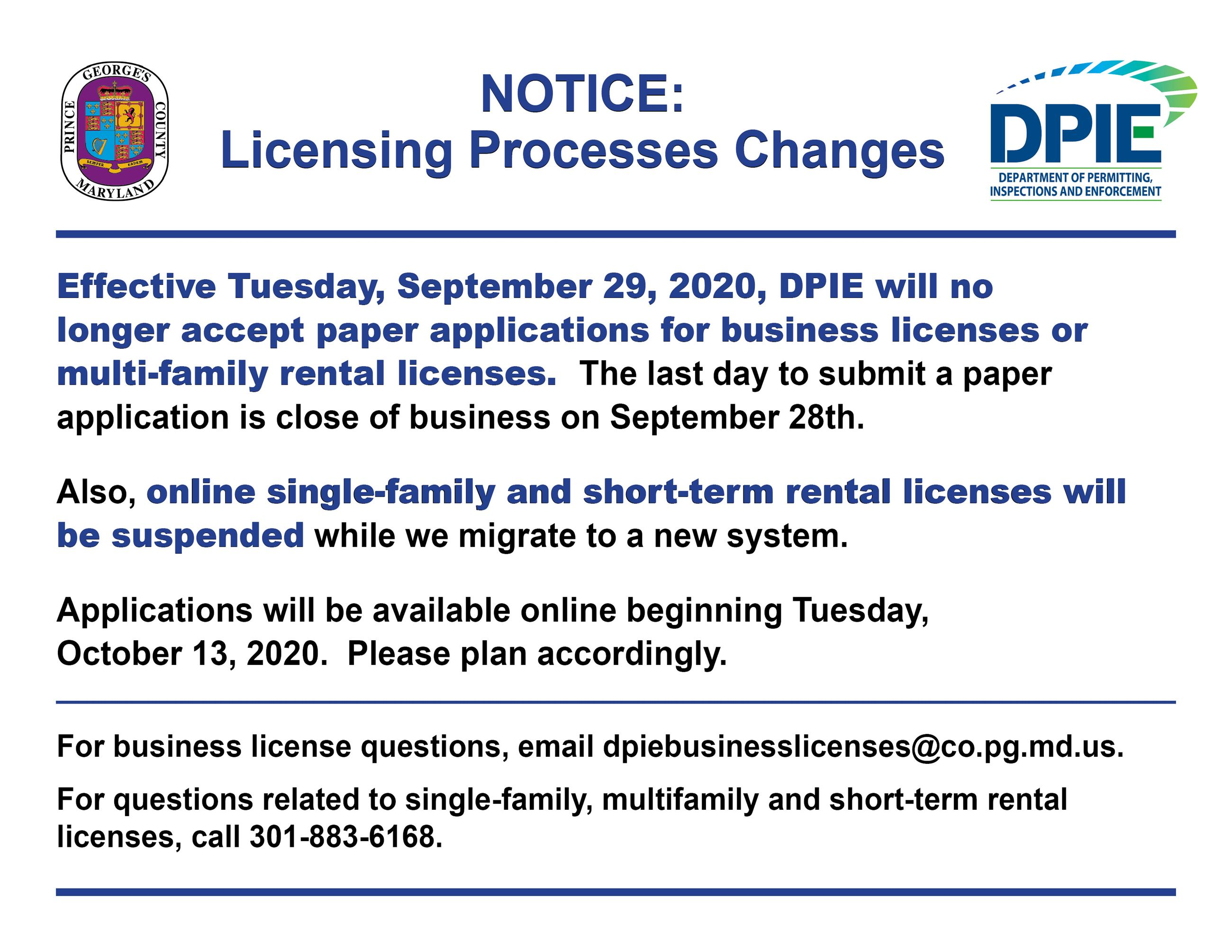 Business Licenses and rental licenses change to Electronic applications Only