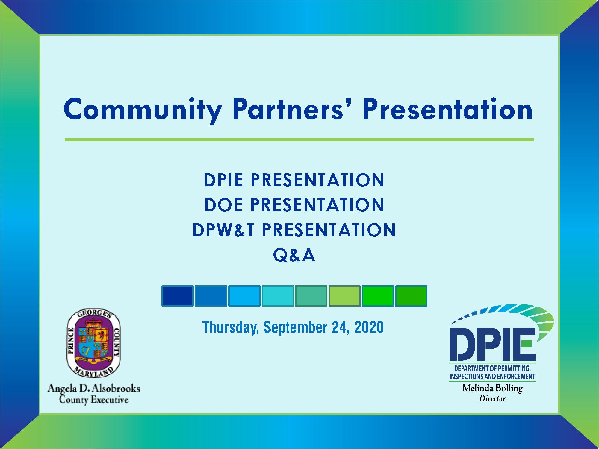 Fall Community Partners Opening Slide with DPIE, DoE and DPW&T presentation list