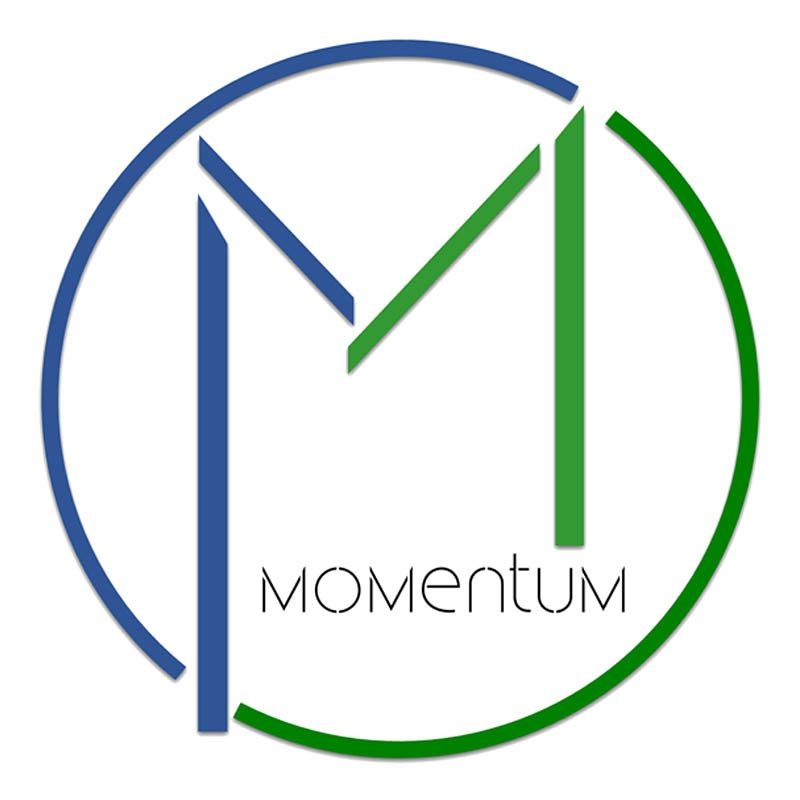 Momentum logo showing green & blue letter M in a circle