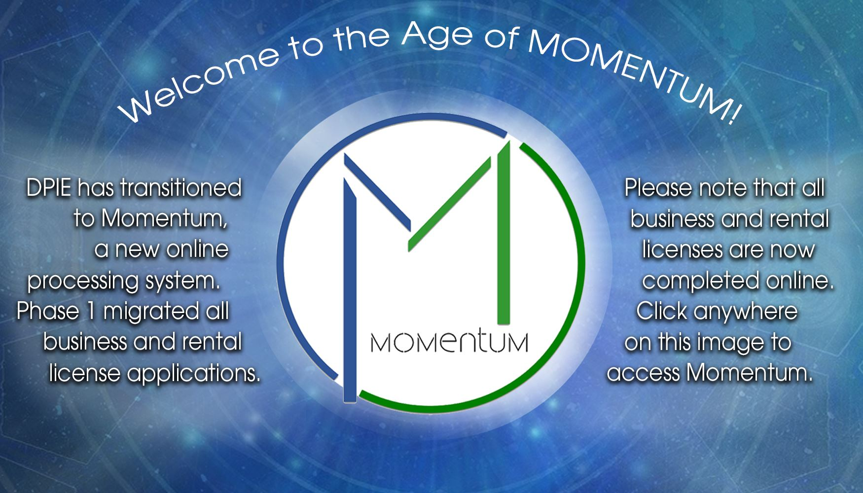 Age of Momentum Banner for auxiliary pages with letter M in circle on blue background