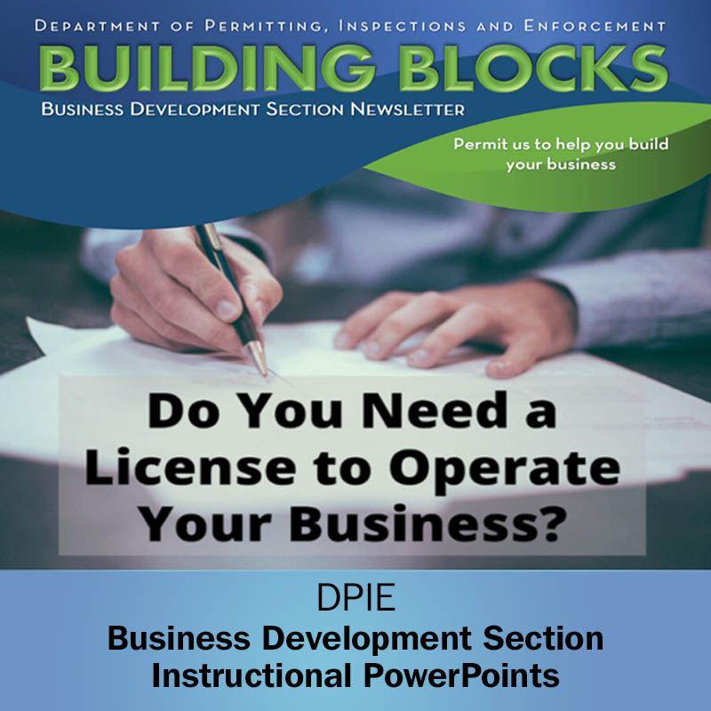 Business Development Section presentation on Licensing shows filling out application