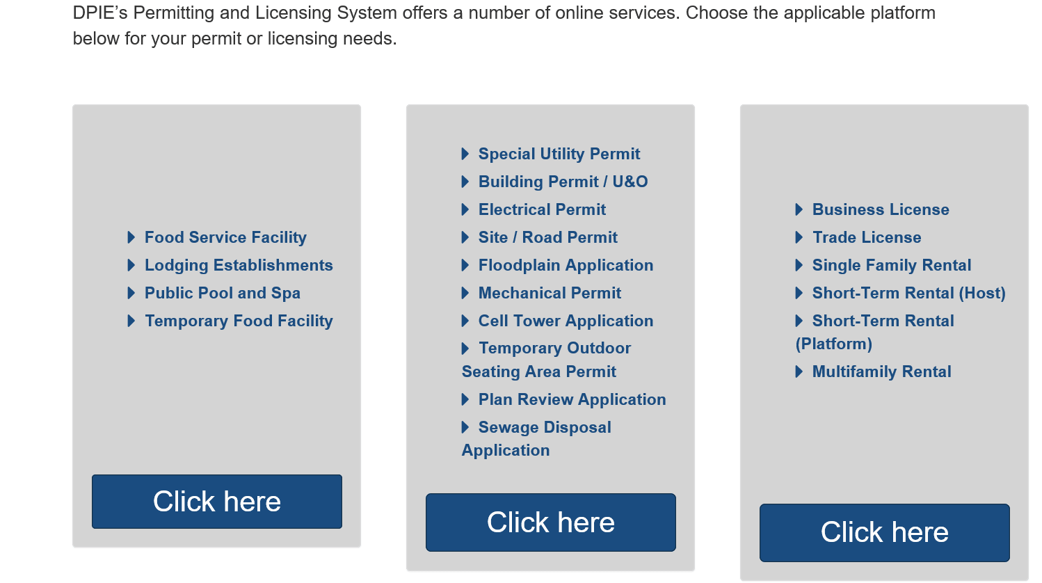 Online Portal image of three boxes for health permits, building permits or licenses