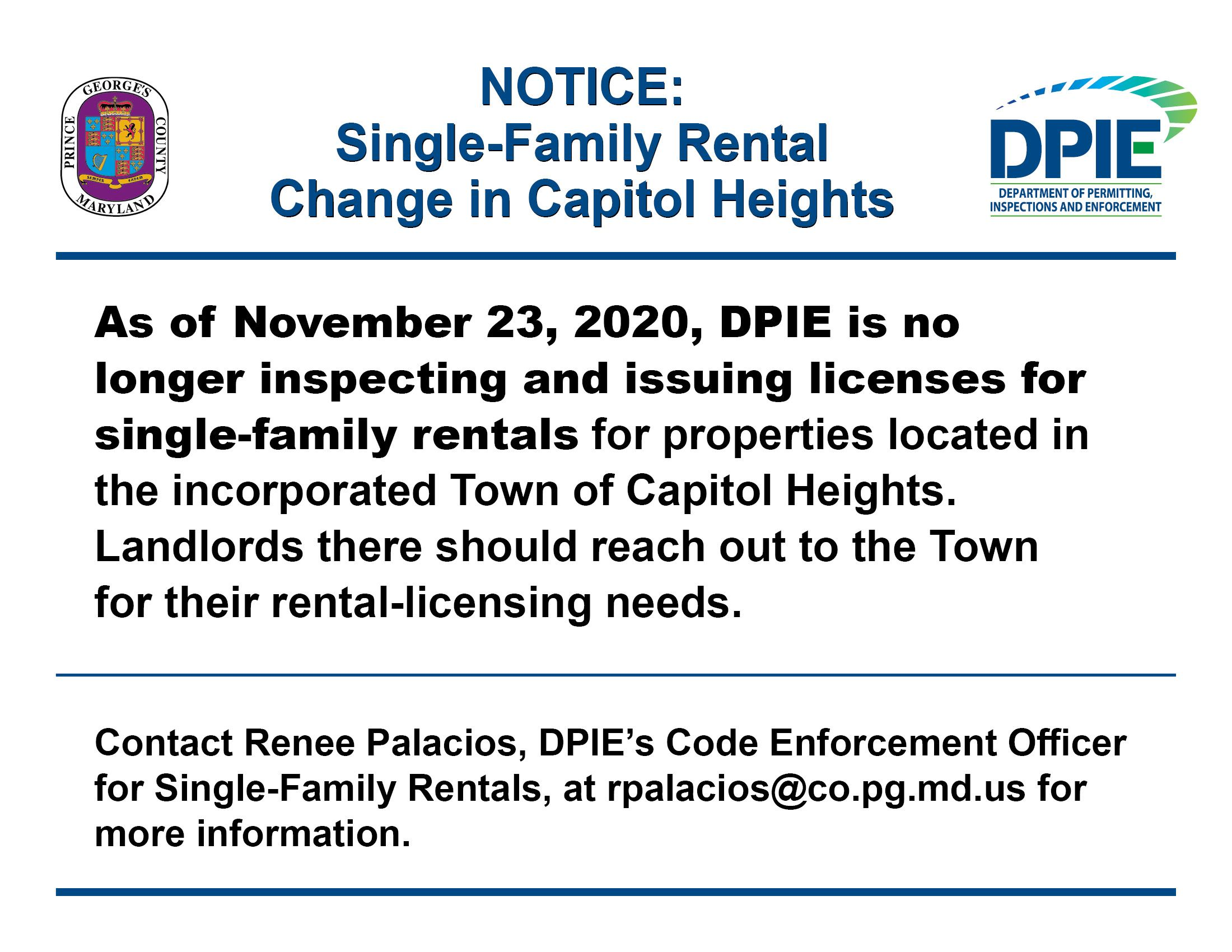 Single-Family Rental Change in Capitol Heights Notice