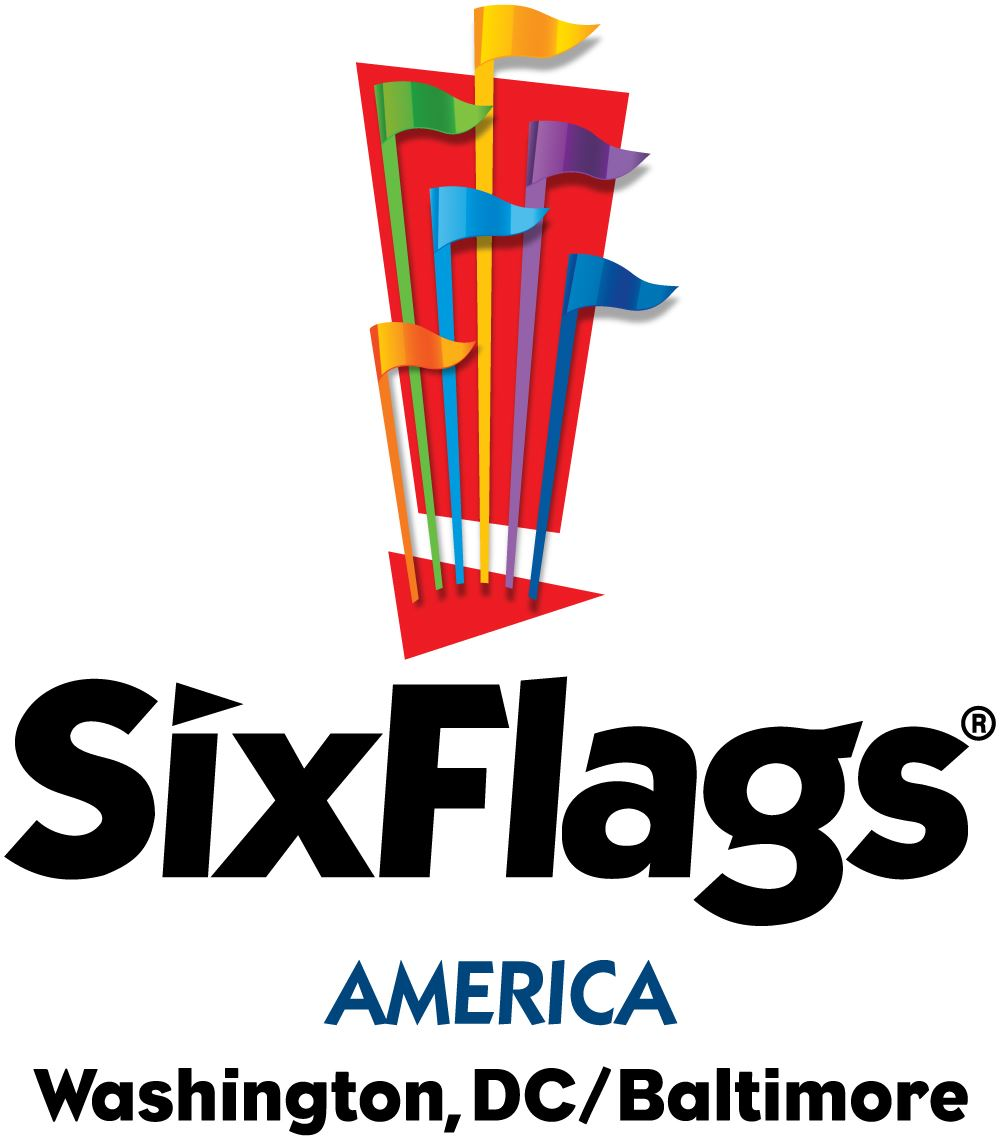 Six Flags America Flag Above Logo