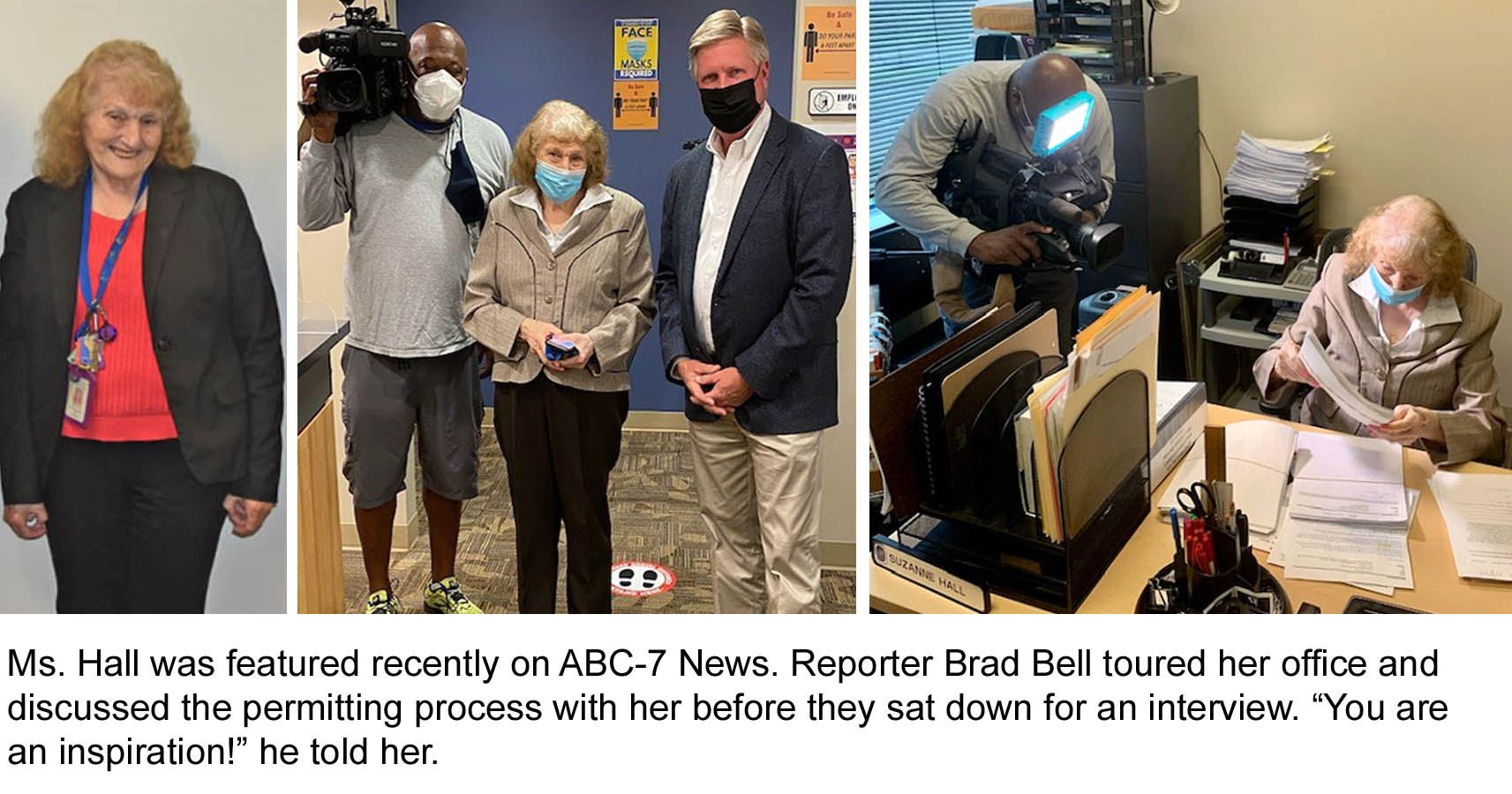 Sue Hall interview by News 7 Brad Bell after 45 years of service