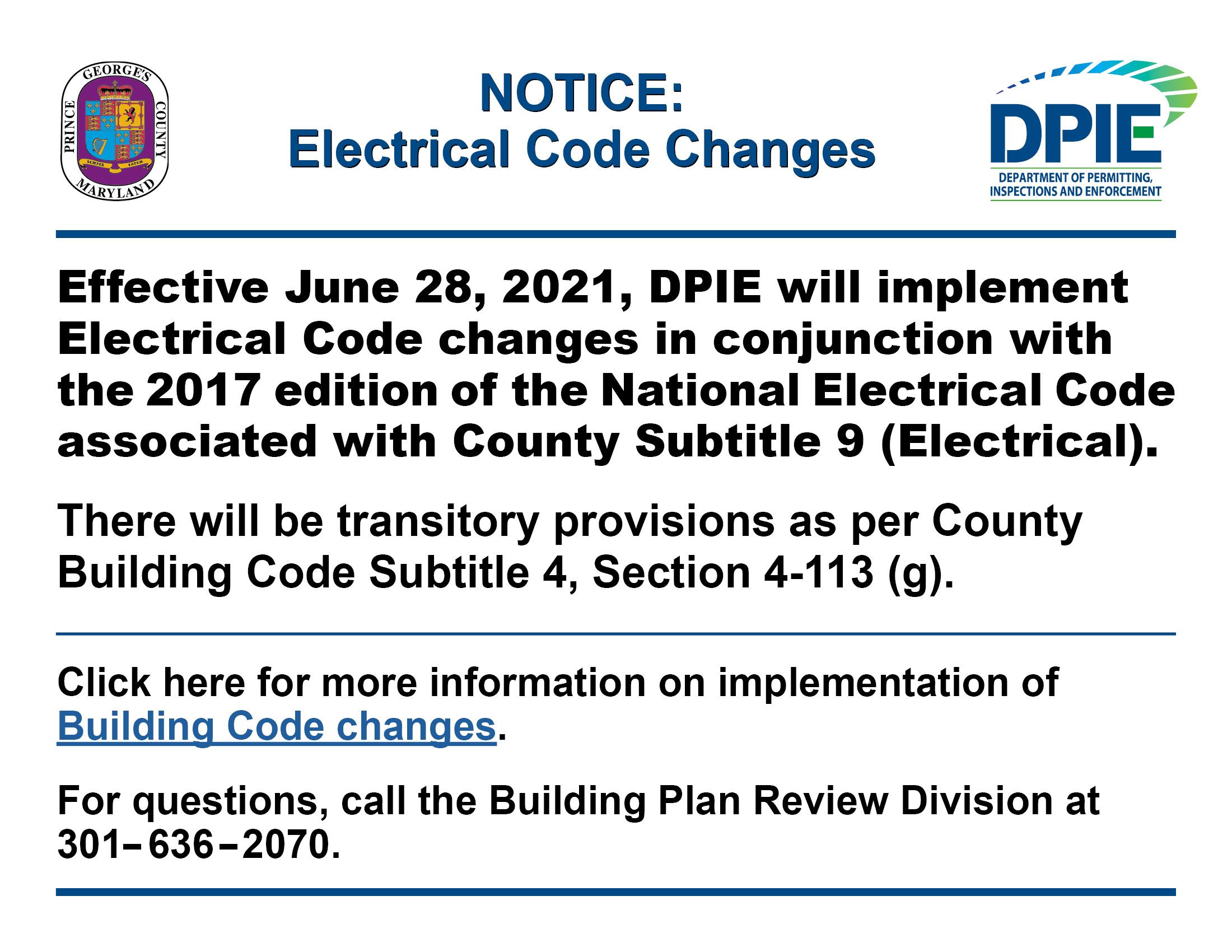 Notice - Electrical Code Changes  June 2021