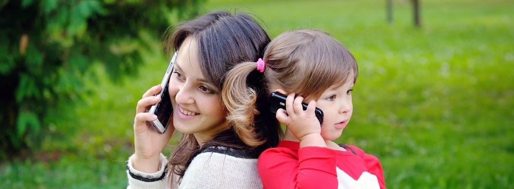 Mother and Daughter on Phone