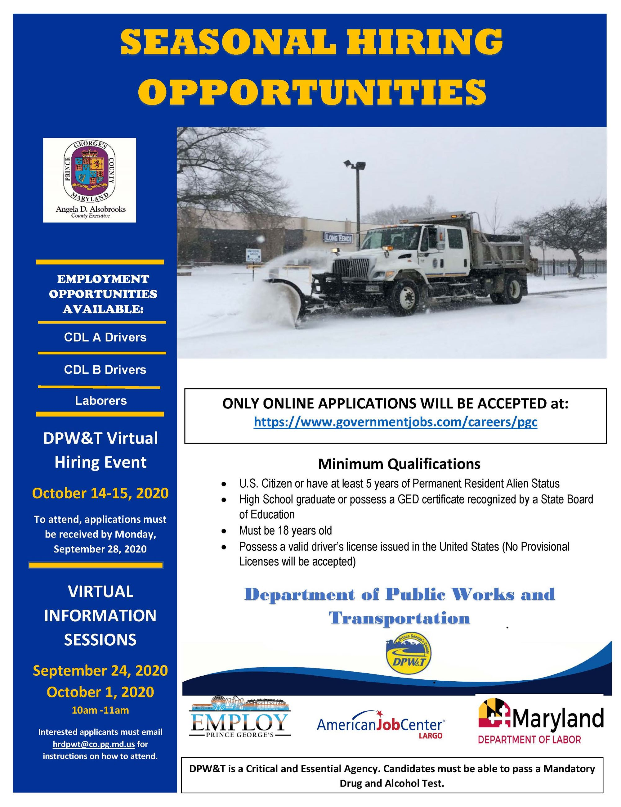 FLYER - FY21 DPWT Seasonal Job Fair