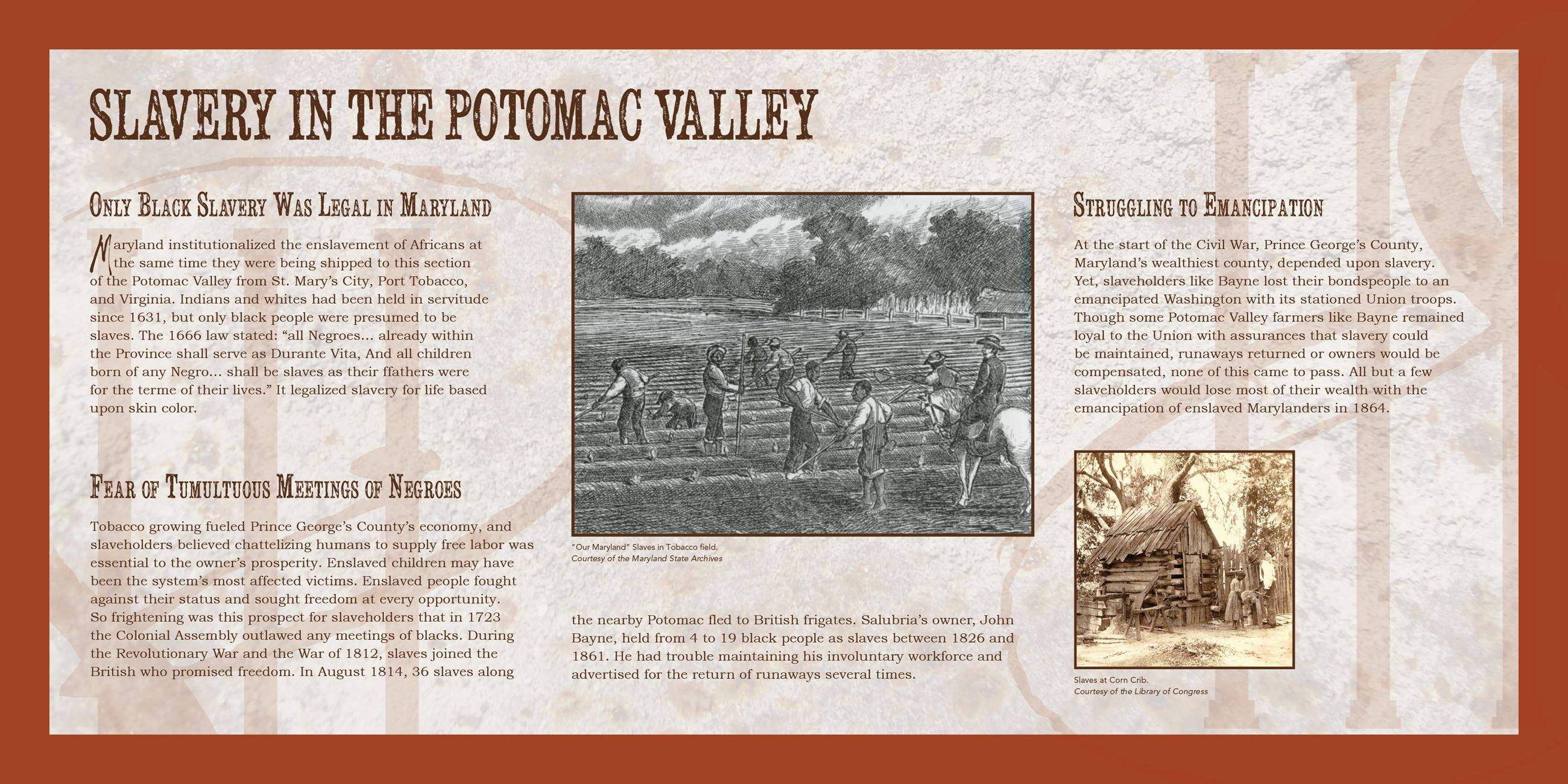 Slavery in the Potomic Valley